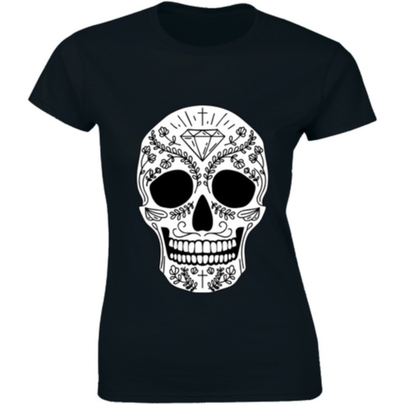 Half It Tops - Calavera Skull Mexican of Dead Holiday T-shirt Tee